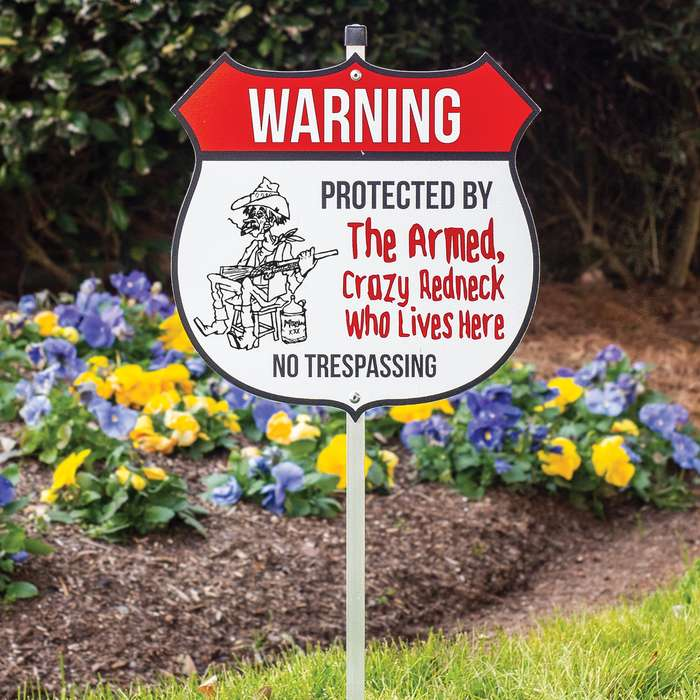 """Redneck No Trespassing Warning Sign With Stake - Tough Plastic Construction, Weather-Resistant Artwork - 29"""" Tall"""