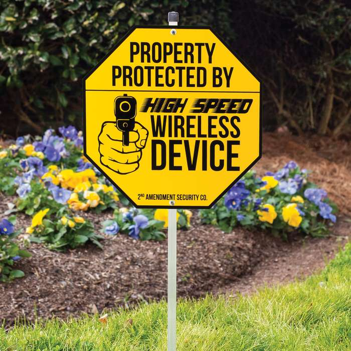 """Wireless Device Warning Sign With Stake - Tough Plastic Construction, Weather-Resistant Artwork - 29"""" Tall"""
