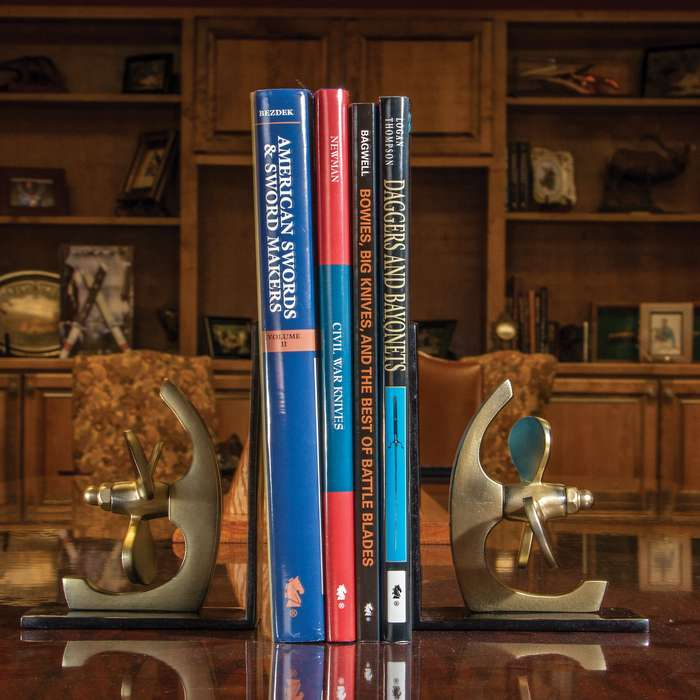 """Ship Propeller Bookend Set - High-Quality Brass And Black Metal Construction - Dimensions 6 1/2""""x 5"""""""