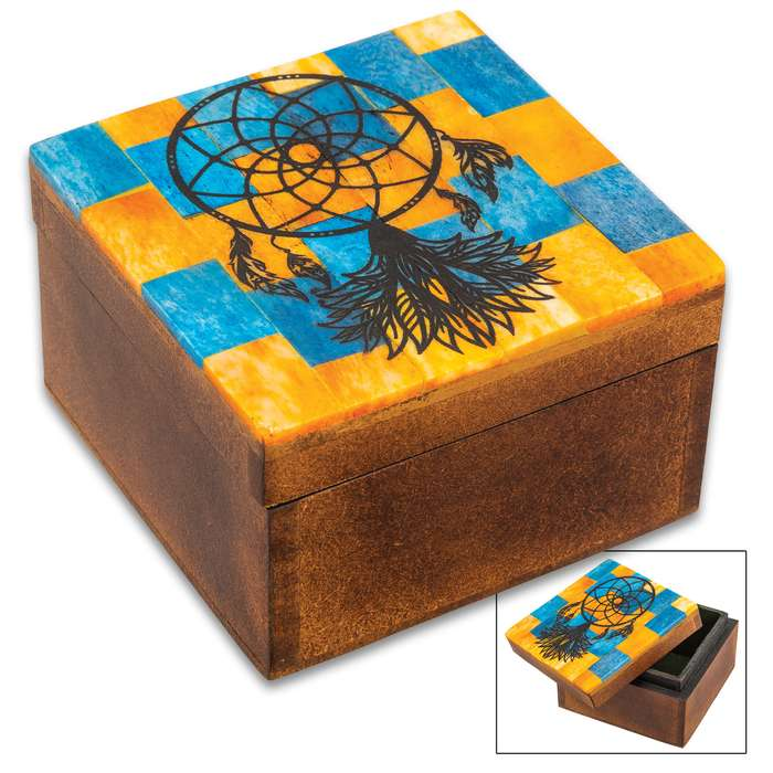 "Brown Dreamcatcher Bone Box - Genuine Bone And Wood Construction, Felt Lined Interior - Dimensions - 3 1/4""x 3 1/4""x 2"""