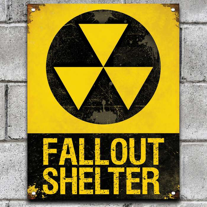 """Fall Out Shelter Sign - 24-Gauge Metal Construction, Vivid Artwork, Vintage Look, Four Mounting Holes - Dimensions 14""""x 8"""""""