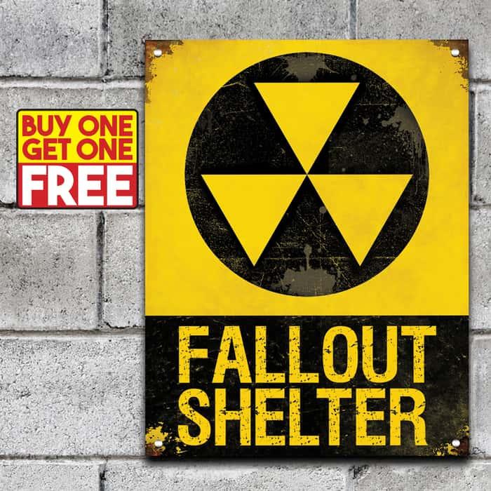"Fall Out Shelter Sign - 24-Gauge Metal Construction, Vivid Artwork, Vintage Look, Four Mounting Holes - Dimensions 14""x 8"" - BOGO"