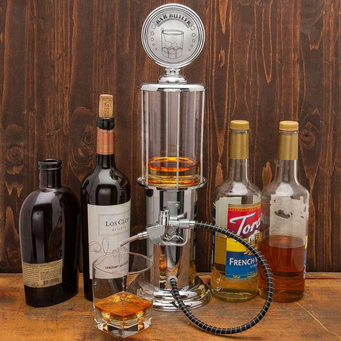 """Bartender Beverage Dispenser Gas Pump - Chrome-Plated ABS And Metal Construction, Rubber Hose, Fun Design - Dimensions 19""""x 5 1/2"""""""