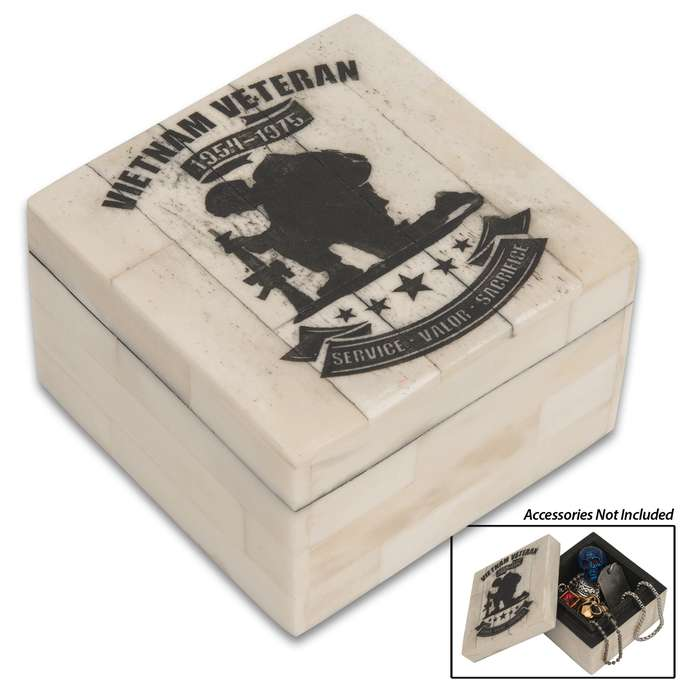 Our high-quality Vietnam Veteran Tribute Bone Keepsake Box makes a thoughtful gift for a veteran for any occasion