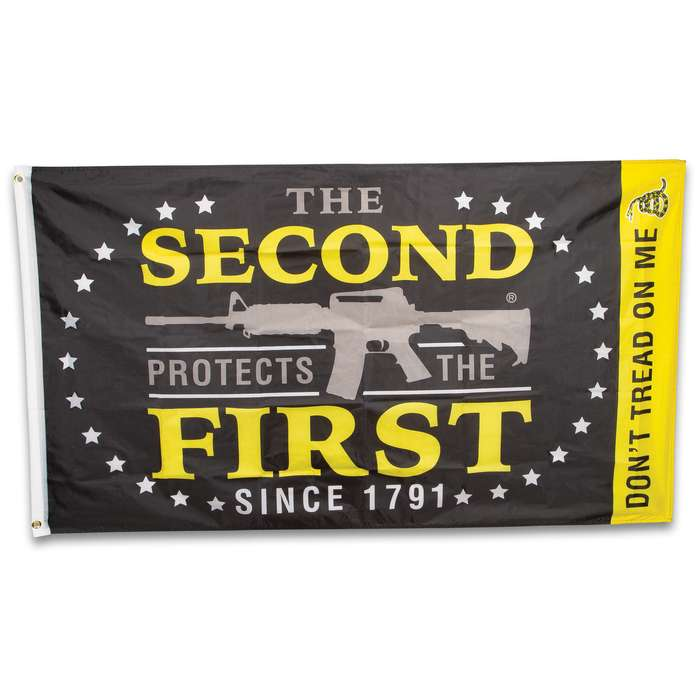 The Second Protects The First Flag - Polyester Construction, Dye-Sublimated, Fade-Resistant, Hanging Grommets - Dimensions 3'x5'