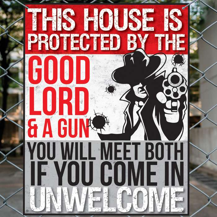 "This House Is Protected By God Tin Sign - Vibrant Artwork, Corrosion Resistant, Mounting Holes - Dimensions 12 1/2""x 16"""