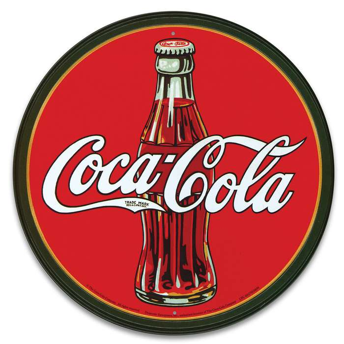 """Vintage Style Tin Sign - 1930s Coca Cola / Coke Glass Bottle Logo - Red - Antique Replica, Soda Shop, Lunch Counter, Fountain, Drug Store - Home / Office Decor - Indoor / Outdoor - 11 3/4"""" Diameter"""