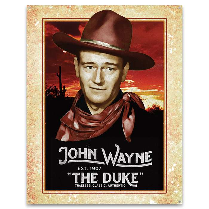 "John Wayne Classic Tin Sign - Collectible, Corrosion Resistant, Fade Resistant, Rolled Edges, Mounting Holes - 12 1/2""x16"""