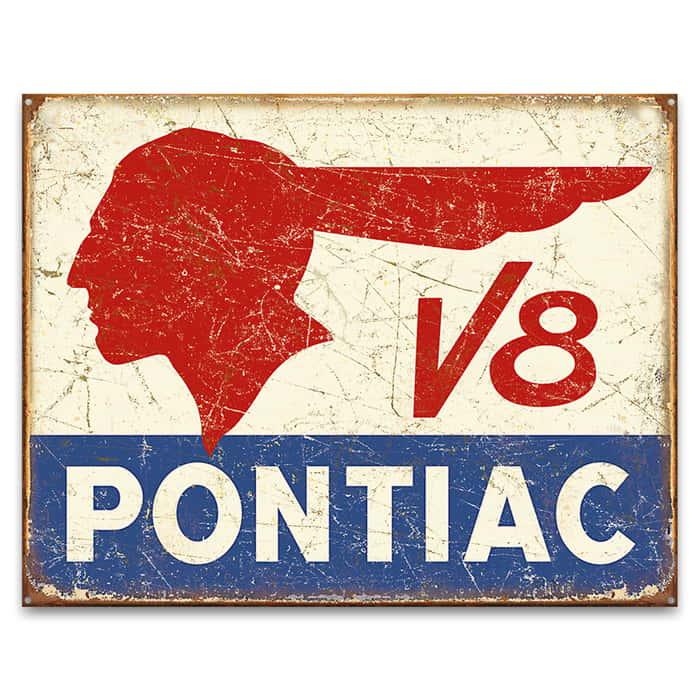 Pontiac V8 Vintage Ad Tin Sign - Vibrant Artwork, Corrosion Resistant, Fade Resistant, Rolled Edges, Mounting Holes