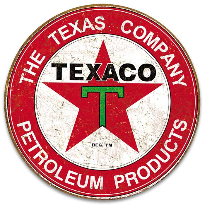 """Texaco Filling Station Round Tin Sign - Vibrant Artwork, Corrosion Resistant, Fade Resistant, Rolled Edges, Mounting Holes - Diameter 11 3/4"""""""