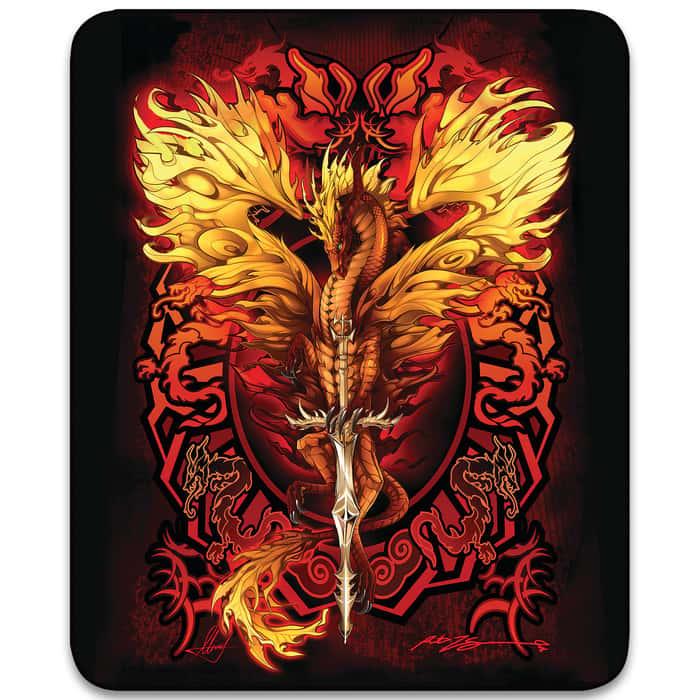 "Flaming Dragon Blade Faux Fur Blanket - Plush Acrylic Material, Color-Saturated Vivid Artwork - Dimensions 70""x 90"""