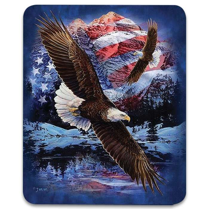"Snow Eagle Flag Faux Fur Blanket - Plush Acrylic Material, Color-Saturated Vivid Artwork - Dimensions 70""x 90"""