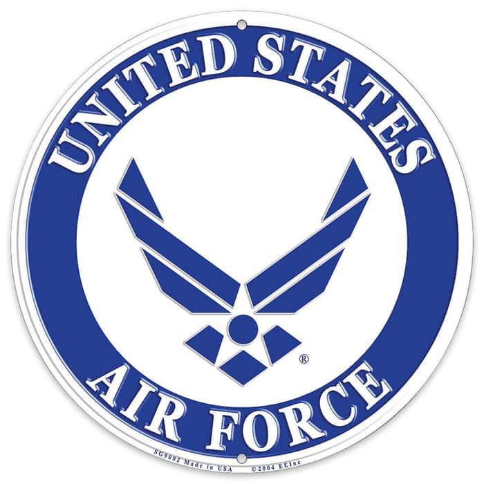 "US Air Force Logo 12"" Round Aluminum Sign"