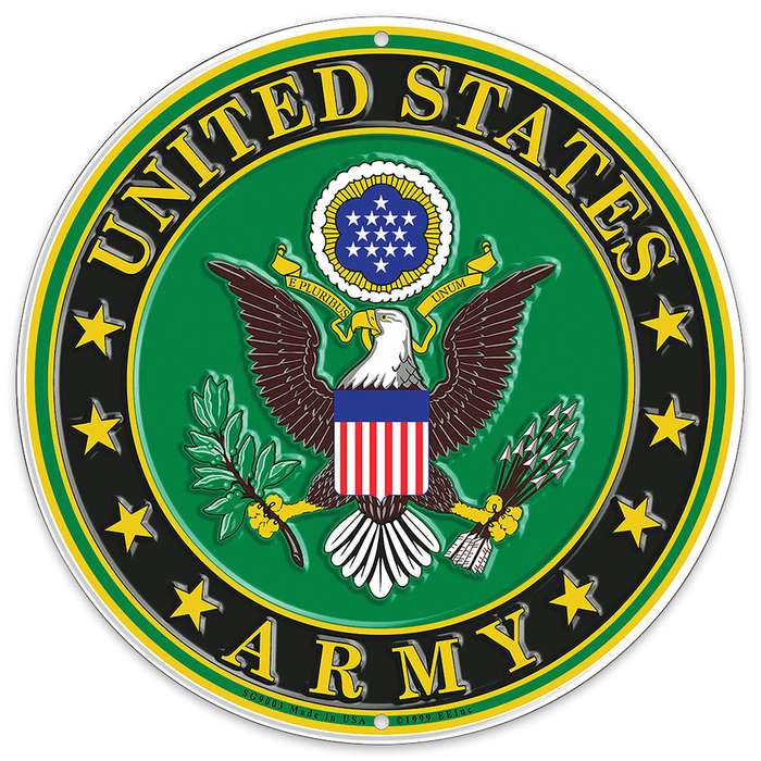 "US Army Logo 12"" Round Aluminum Sign"