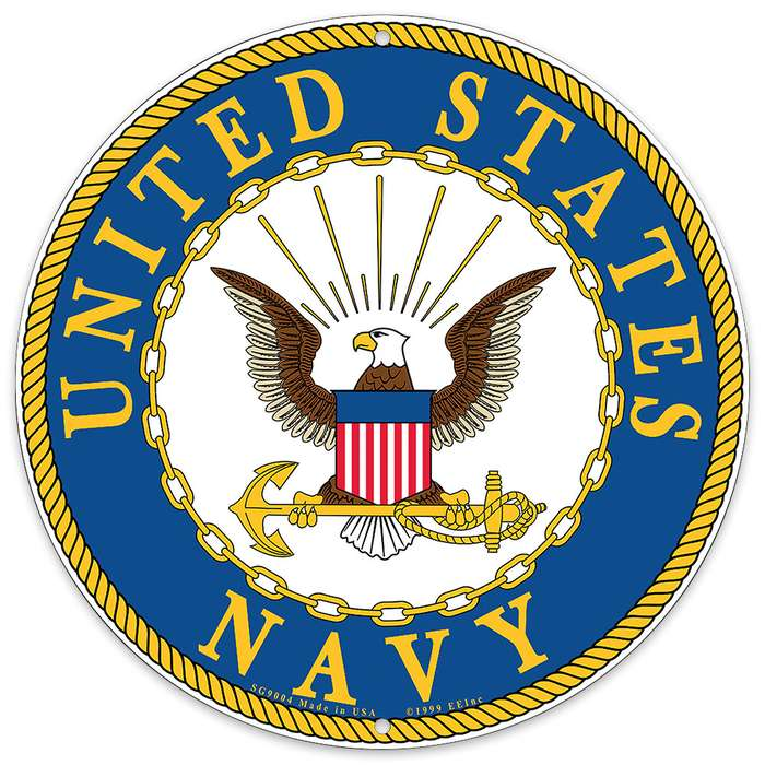 "US Navy Logo 12"" Round Aluminum Sign"