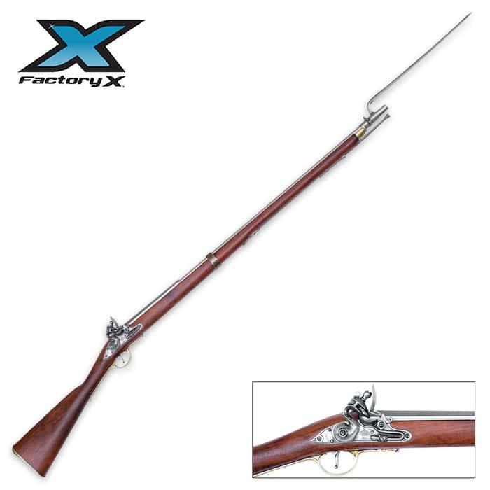 Replica Colonial Brown Bess Flintlock Rifle With Bayonet - Non-Firing
