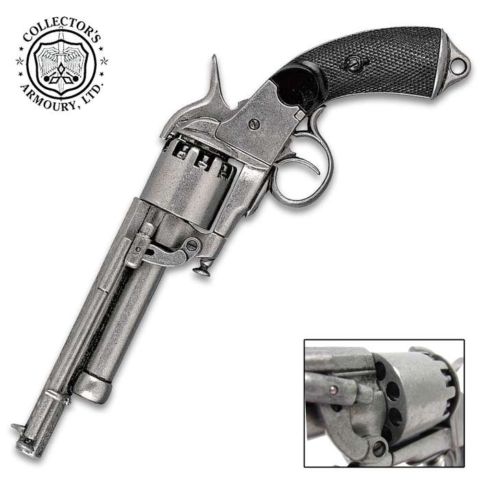 This is a museum quality reproduction of the LeMat revolver used during the Civil War and it is authentic in size and weight