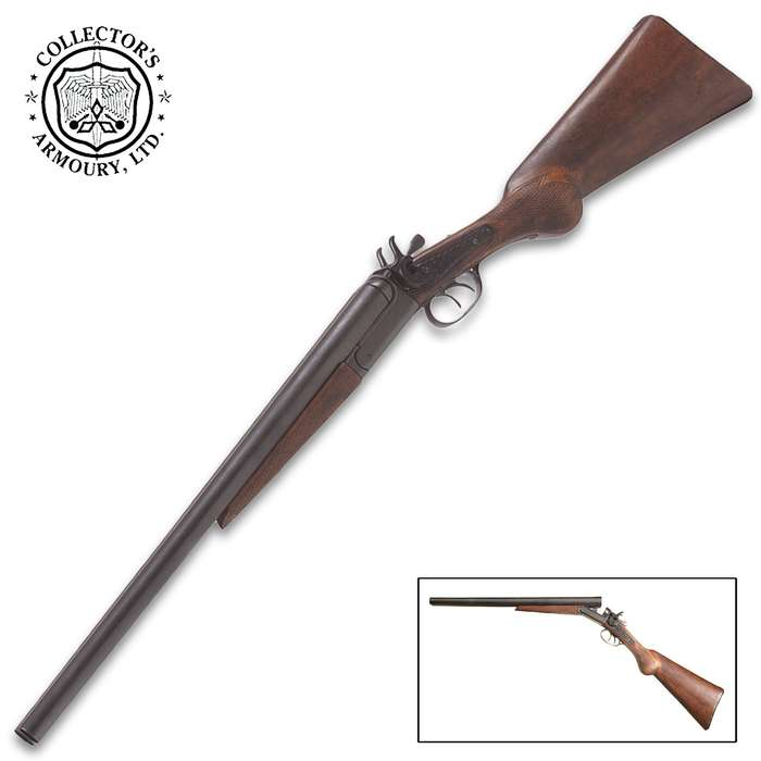 Our non-firing Old West Coach Gun Replica has an authentic time-worn appearance and realistic action that mimics the double barreled, percussion cap action of the original 1881 design