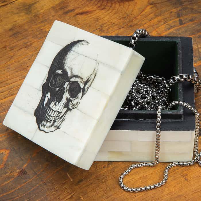 "Skull Scrimshaw Square Bone Box - Genuine Bone, Removable Lid, Vintage Design - 3 1/4""x 3 1/4"" x 2"""