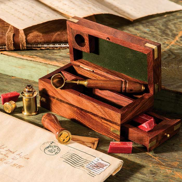 Antique-Style Wax Seal Kit in Wooden Box