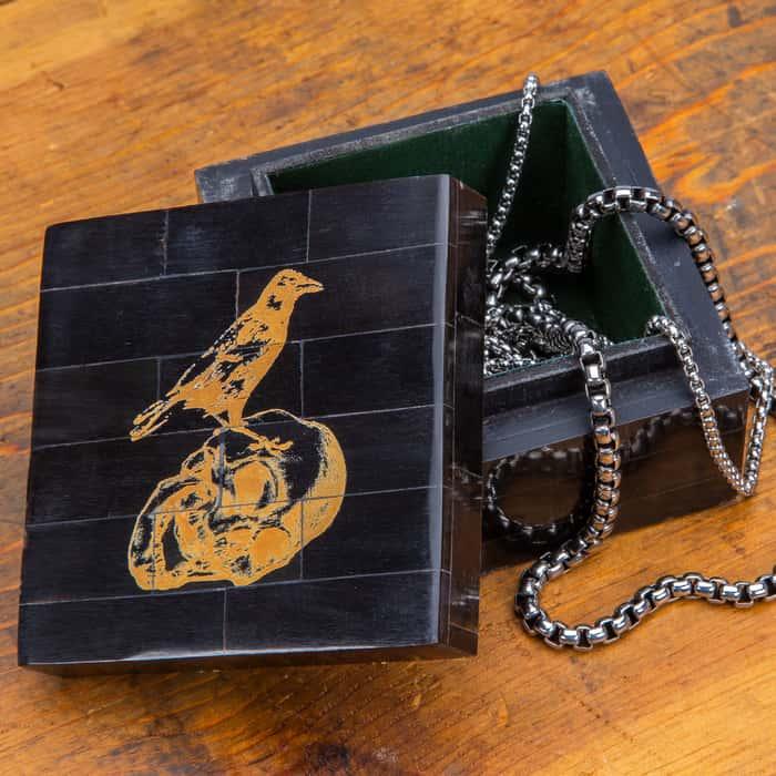 """Skull And Raven Scrimshaw Black Horn Box - Genuine Horn, Removable Lid, Vintage Design - 3 1/4""""x 3 1/4"""" x 2"""""""