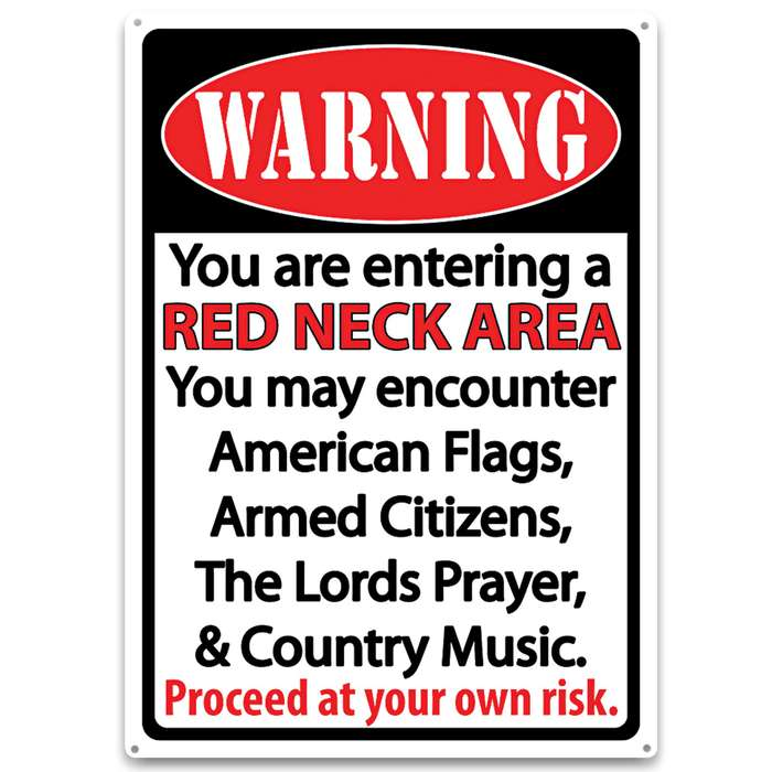 Warning Redneck Area Tin Sign - Embossed Features, Weatherproof Finish, Rolled Edges, Pre-Punched Mounting Holes