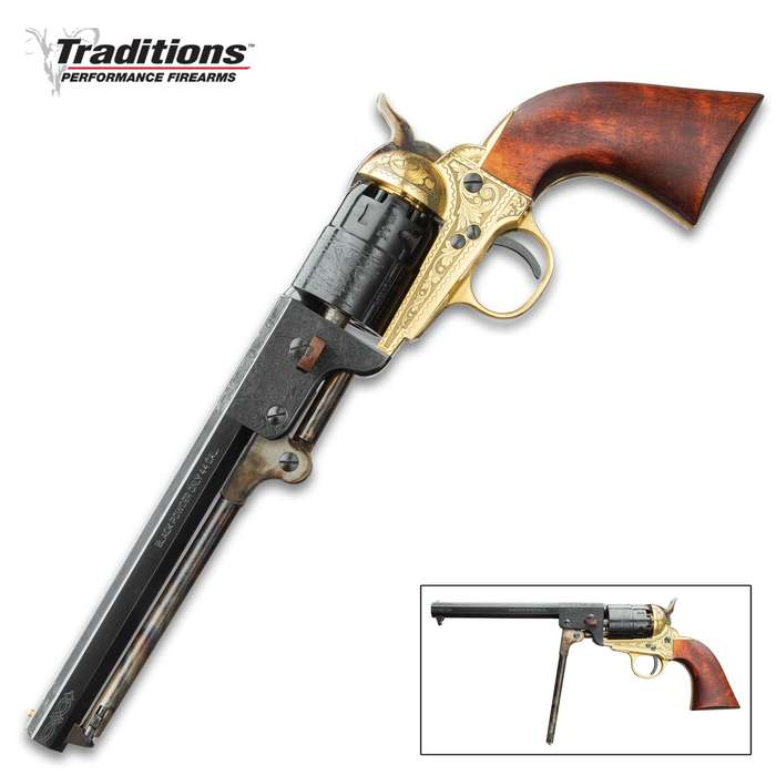 Traditions Colt 1851 Navy .44 Caliber Black Powder Revolver - Fully Functional / Working Historical Reproduction - Octagonal Blued Barrel; Lever Loader; Brass Guard, Frame; Engravings; Walnut Grip