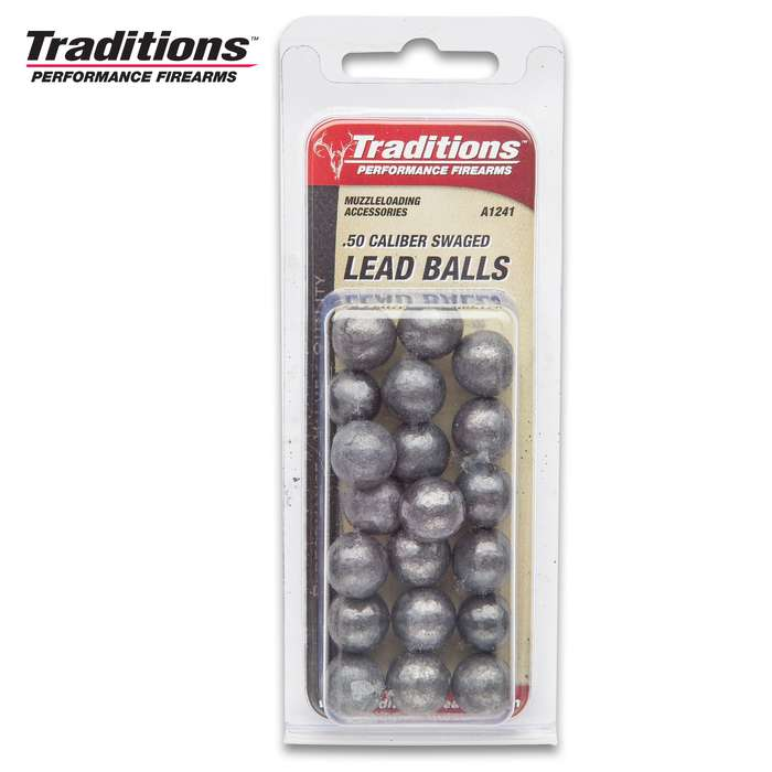 """Traditions Firearms .50 Caliber (.490"""" Diameter), 177gr Rifle Round Lead Balls - For Black Powder Guns / Muzzleloaders - Pure Lead, Precision Swaged - Superior Accuracy and Performance - Box of 20"""