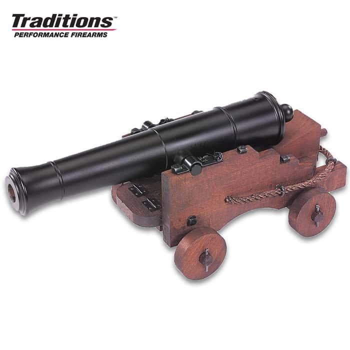 """Old Ironsides Mini Cannon - Blued Finish, Hardwood Cart, Fully Functional, 69 Caliber Black Powder - Length 12 1/2"""""""