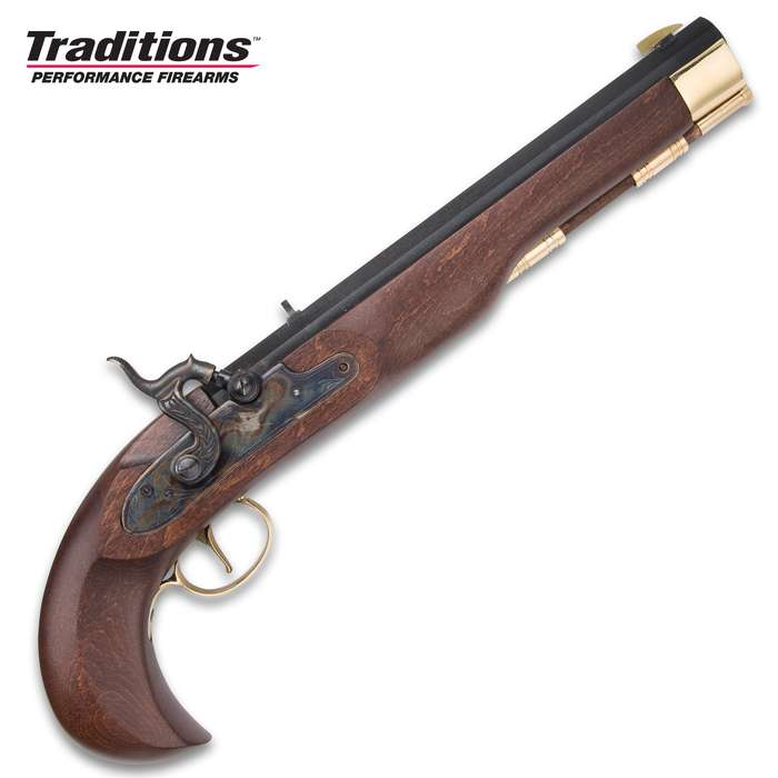 Kentucky Classic Muzzleloading Pistol - Blued Barrel, Hardwood Stock, 50 Caliber, Percussion Ignition - Length 15""