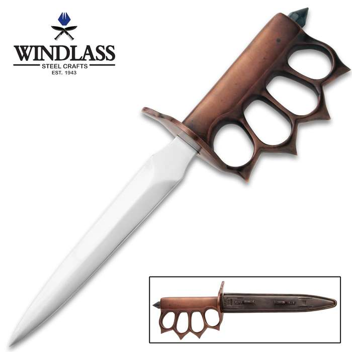 1918 US Trench Knife With Sheath - High Carbon Steel Blade, Blued Finish, Cast Brass Handle, Skull Crusher Pommel