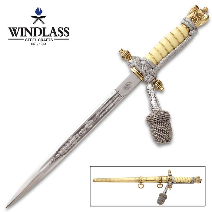 WWII 2ND Model German Naval Dagger With Sheath - Intricate Brass Work, Faux Ivory Handle, Brass Wire Wrap, Dagger Knot