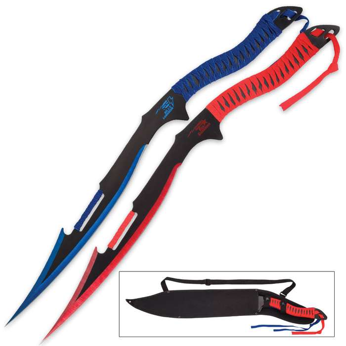 Blue Guardian and Red Guardian Twin Sword Set with Nylon Shoulder Sheath