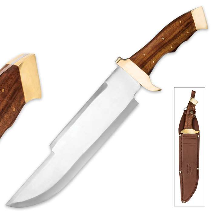 Massive Big Foot Bowie Knife And Leather Sheath