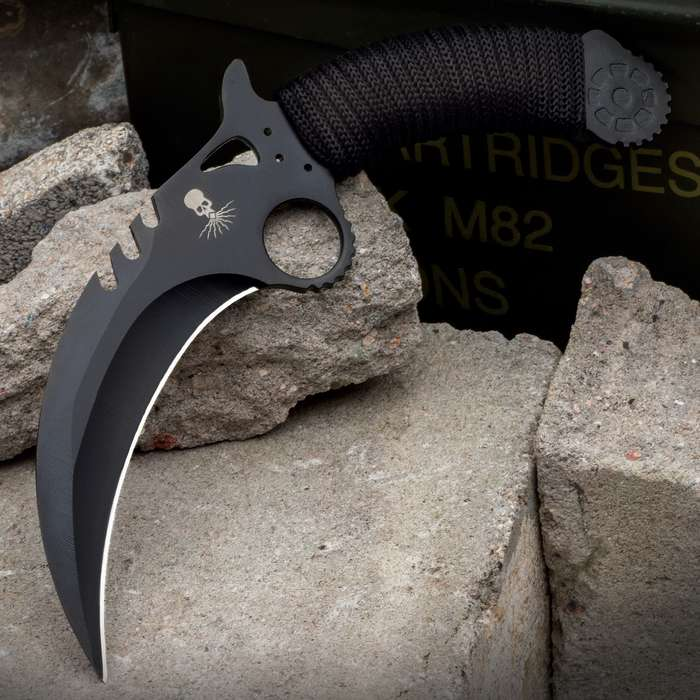 The legendary southeast Asian karambit dressed up in classic steampunk style, a knife bursting at the seams with steam-powered fury