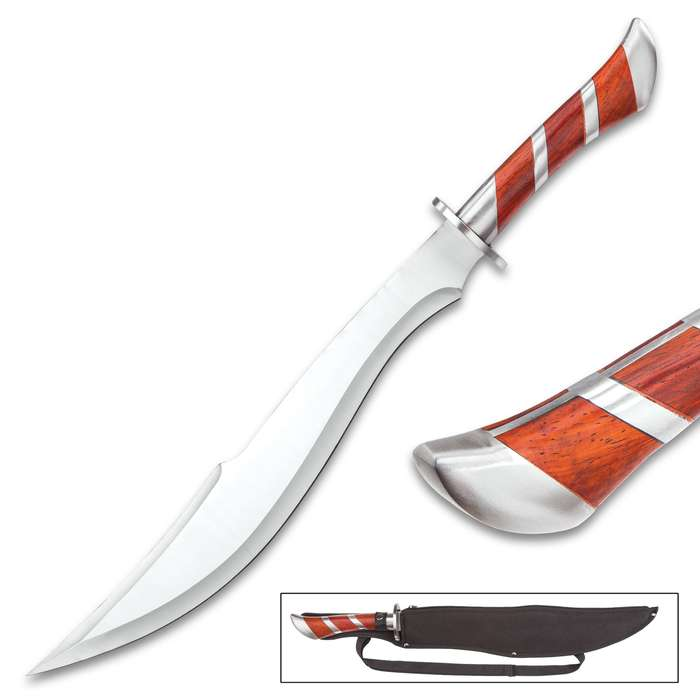 """Arabian Heartwood Scimitar Sword With Sheath - Stainless Steel Construction, Heartwood Handle Accents - Length 25"""""""