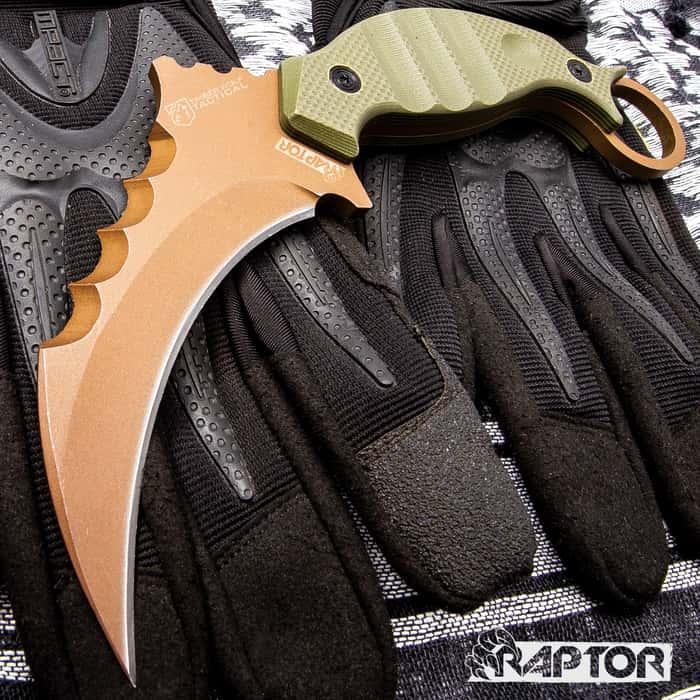 "Copper Raptor Karambit - 3Cr13 Stainless Steel, Titanium Coated, G10 Handle Scales, Open-Ring Pommel - Length 8 1/4"""