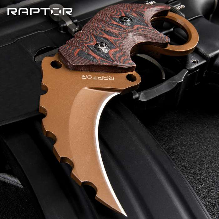 Raptor Junior Rusted Earth Karambit Knife - 3Cr13 Stainless Steel Blade, Titanium Finish, G10 Handle Scales - Length 5 1/2""