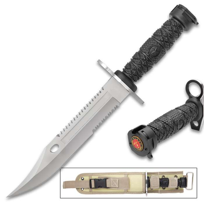 """Bayonet Knife And Sheath - Stainless Steel Blade, TPU Handle With Bayonet Clip, Guard With Muzzle Ring - Length 13"""""""