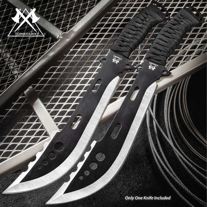 """Galactica Fantasy Fixed Blade Knife With Sheath - Stainless Steel Two-Toned Blade, Cord-Wrapped Handle - Length 14 1/2"""""""