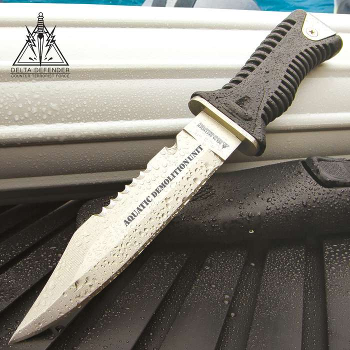 """Delta Defender Dive Knife With Belt And Sheath - Stainless Steel Blade, Ridged ABS And TPR Handle, Sawback Serrations - Length 9 3/4"""""""