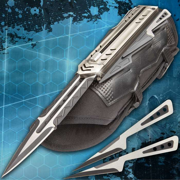 """The Enforcer Tactical Gauntlet And Throwing Knives- Stainless Steel Blades, PU And Nylon Canvas Arm Sheath - Length 13 1/2"""""""