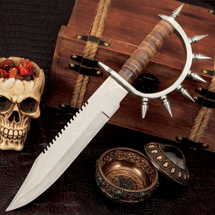 """Berserker Bowie Knife And Sheath - Carbon Steel Blade, Sawback Serrations, Stacked Leather Handle, Spiked Handguard - Length 16 1/4"""""""