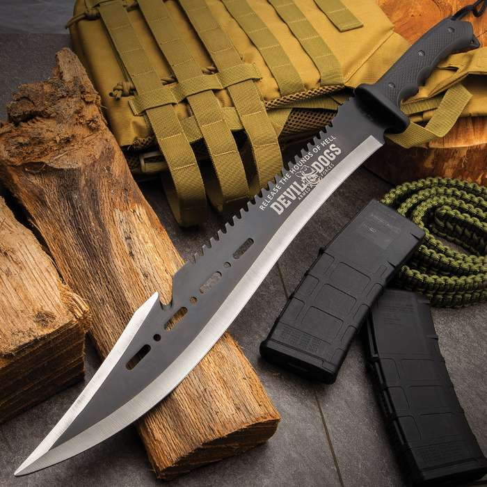 """Devil Dogs Armed Forces Machete With Sheath - AUS-8 Stainless Steel Blade, Two-Toned Finish, Rubberized ABS Handle - Length 25"""""""