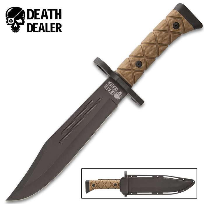 """Death Dealer Tactical Knife With Sheath - 3Cr13 Stainless Steel Blade, Non-Reflective Finish, Twice Injected Handle - Length 13 1/2"""""""