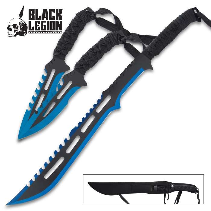 This short sword and throwing knife set is a toothy combination that will strike fear into your enemies at one glance
