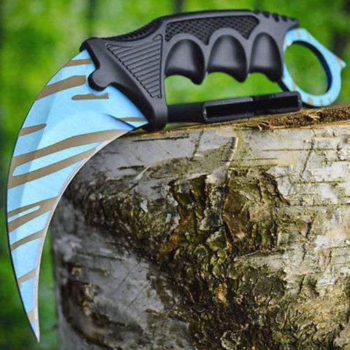 TACTICAL COMBAT KARAMBIT NECK KNIFE Army Hunting BOWIE Fixed Blade TIGER CLAW