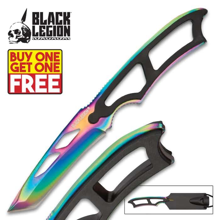 Black Legion Rainbow Titanium Tactical Neck Knife With Molded Sheath - BOGO