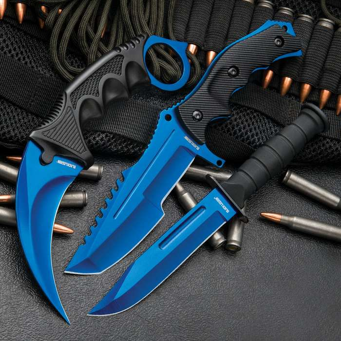 Black Legion Stratosphere Triple Set - Karambit / Huntsman / Military Knives