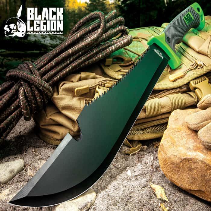 Black Legion Jungle Hunter Bush Machete with Nylon Sheath   Sawback Serrations   Fire Starter